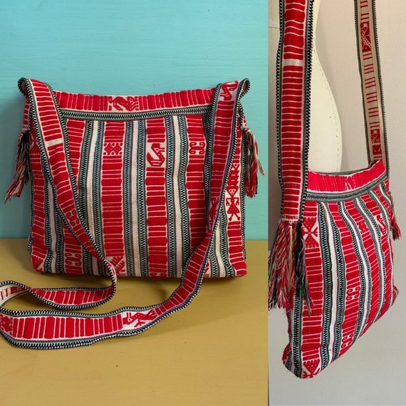 1970s - red, white, green woven striped tribal / hippie shoulder bag
