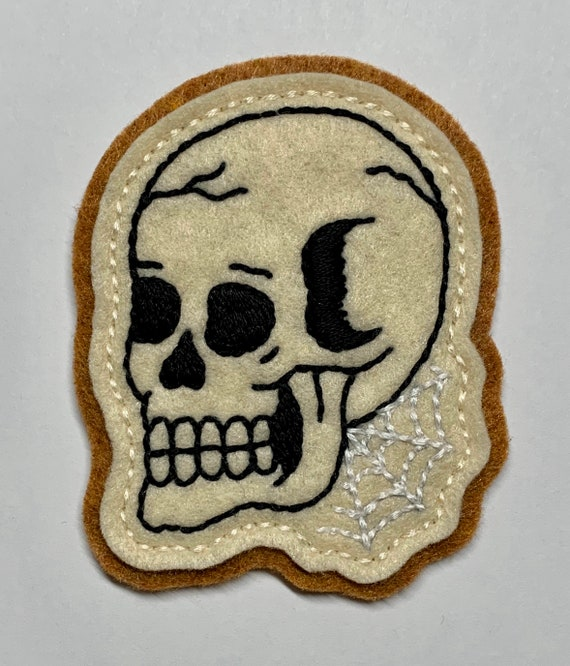 Skull with spiderweb felt patch