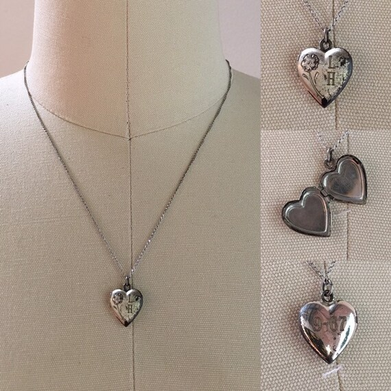 Vintage 1960s - silver-tone metal heart-shaped locket necklace - monogrammed - floral flower detail - thin curb chain - jewelry accessories