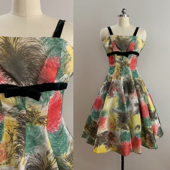 1950s - Suzy Perette green, yellow, pink feather print strappy dress - black velvet & bow detail - M Medium - 36 bust 28 29 waist