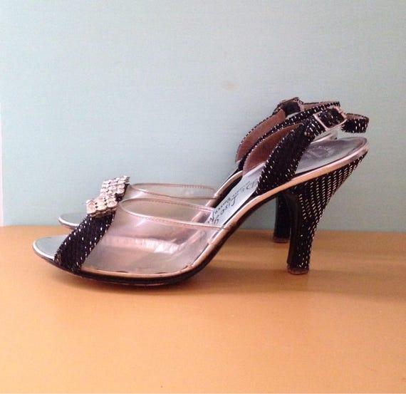 Vintage 1950s - black & silver peeptoe slingback high heels / pumps - clear vinyl toe box - rhinestones detail - size 7 7.5 N