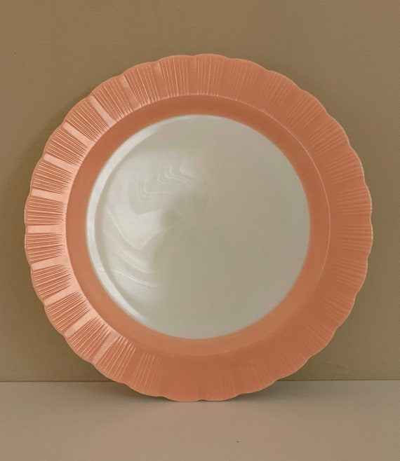 1950s - large pink & white milk glass serving plate with scalloped edging