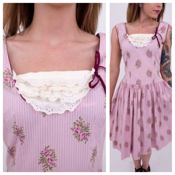 Vintage 1950s - women's sleeveless pink roses novelty print cotton drop waist spring / summer day dress - Medium Large - 36 bust 30 waist