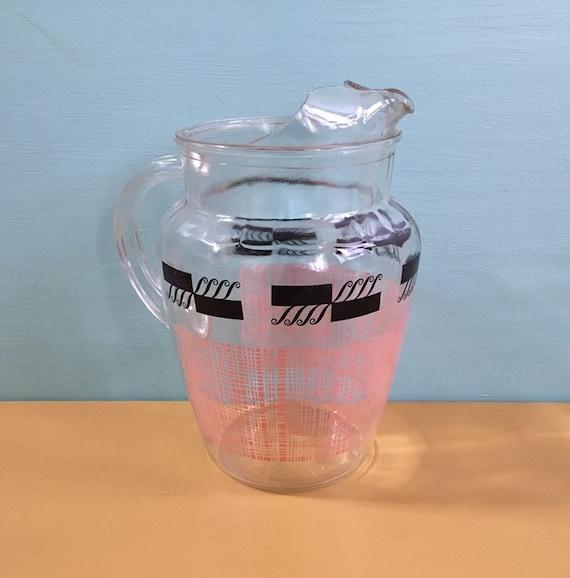 Vintage 1950s - mid century large glass serving pitcher - pink and black atomic design - kitchen home decor - glassware drinkware barware