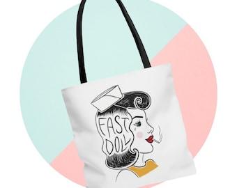 Fast Doll Sailor Girl large white & black tote bag