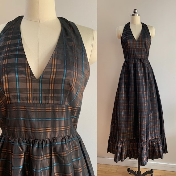 1950s / 1960s - women's brown, orange, blue plaid maxi halter dress - Small - 34 bust 26 waist