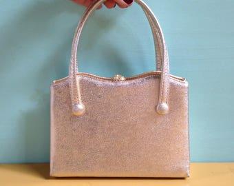 Vintage 1950s - small gold textured glam rockabilly evening bag / purse / handbag - top handles - rhinestones clasp closure