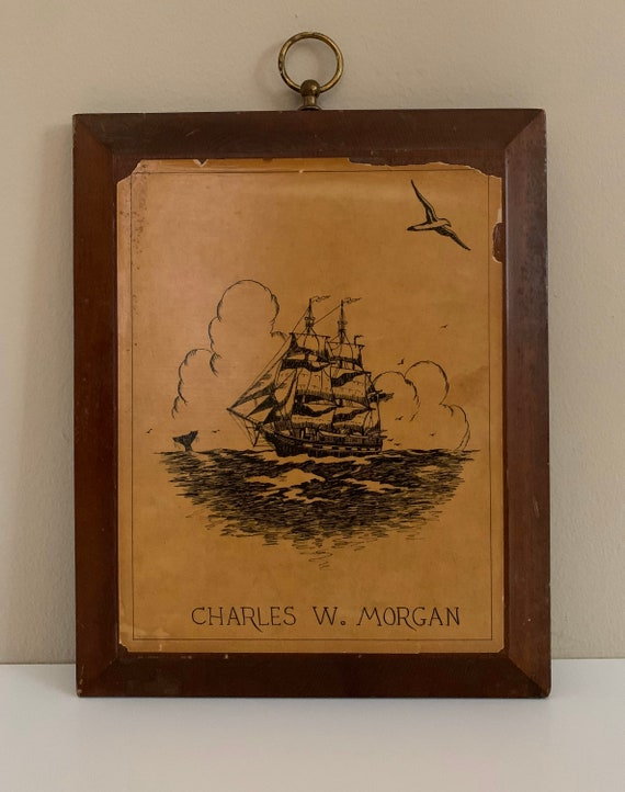 1950s / 1960s - black painted ship at sea - rectangular wooden wall art