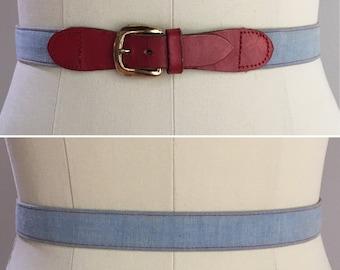 Vintage 1950s - women's pin up rockabilly light blue cotton denim & red leather waist belt - gold metal buckle - S small - 27 28 waist