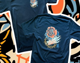 FAST DOLL Unisex Hand & Rose Tattoo Jersey Short Sleeve Tee - Black or White