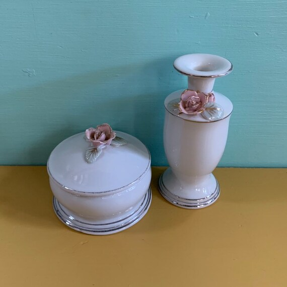 Vintage 1950s - Japanese white ceramic vase & jar set - pink roses and silver trim detail - vanity / bathroom / home decor