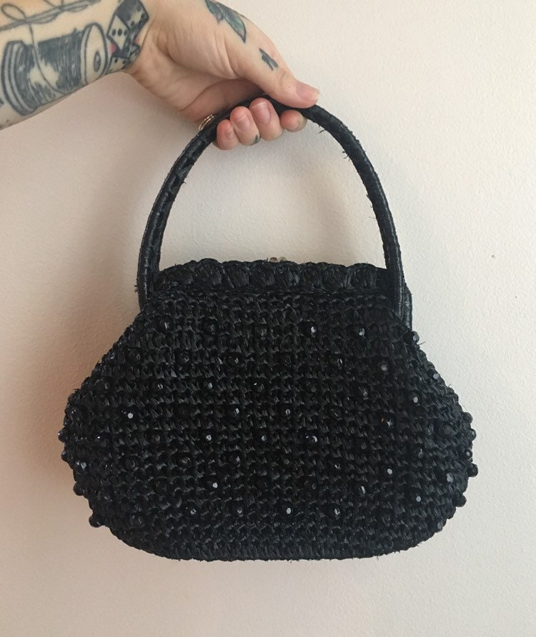 ef8e8c3c66bfc4 Vintage 1950s - pinup rockabilly crocheted black raffia top handle purse /  handbag - black beads detail - kissing lock clasp closure