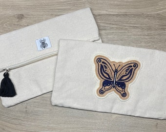 Fold-over canvas clutch purse / handbag with butterfly patch - blue / tan or green / grey