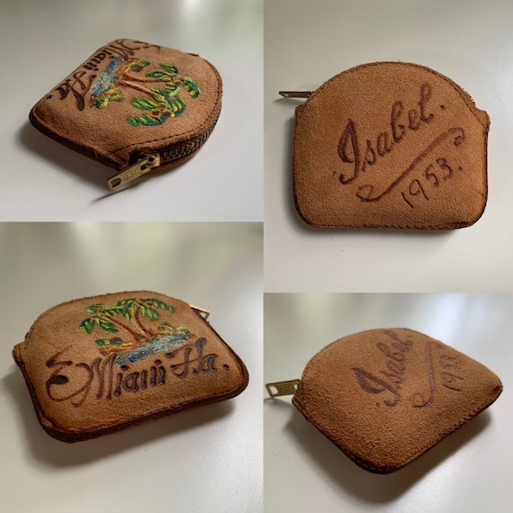 1950s - small light brown suede leather Miami souvenir coin purse with 'Isabel 1953' on back