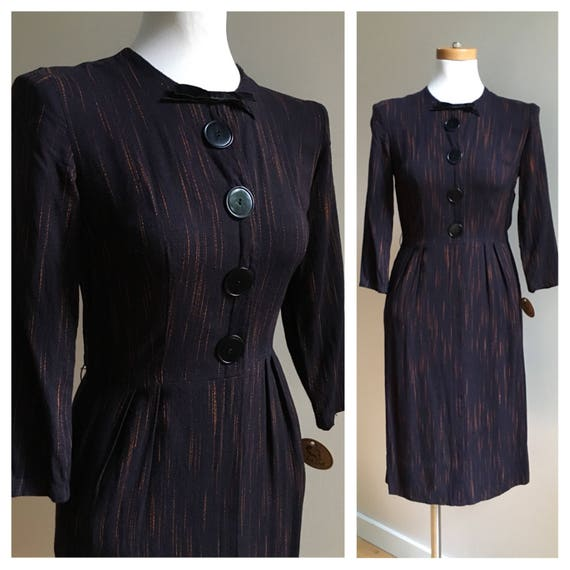 1950s / 1960s - women's long sleeve black orange cotton secretary dress with pockets - S small - 34 bust 25 waist