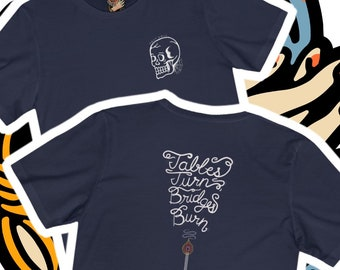 FAST DOLL Tables Turn Unisex Short Sleeve Tee - Black, Navy or Brown - S-3XL