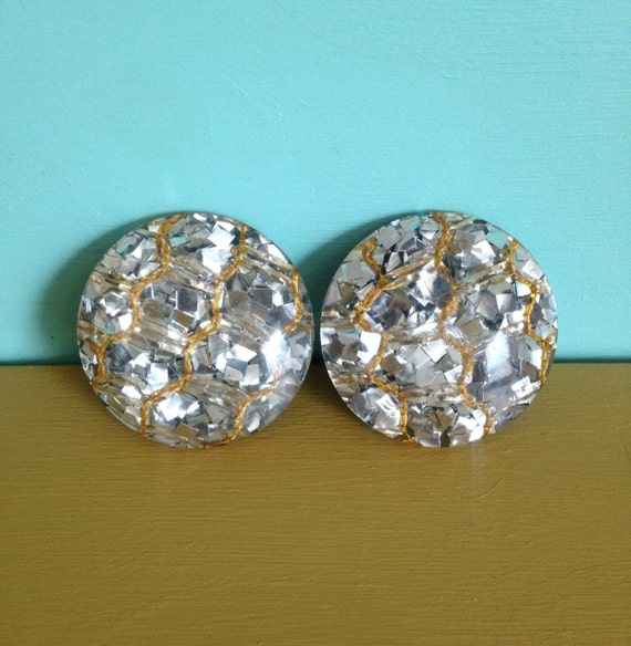 1950s - large round silver glitter metal flake clip on earrings - gold thread detail