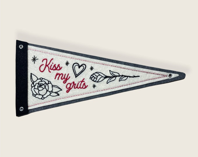 Featured listing image: 'Kiss My Grits' felt pennant with roses and heart - black, grey and off-white