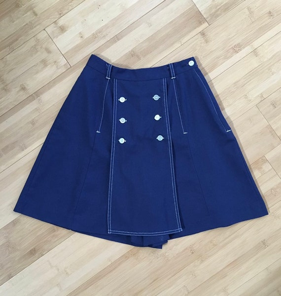 Vintage 1960s / 1970s - women's high waist royal blue & white sailor style skort - XS Extra Small - 24 waist 38 hips