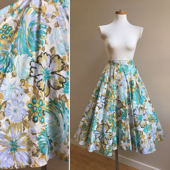 1950s - green, blue, gold Hawaiian floral print full circle skirt - glitter detail & tulle crinoline - XS Extra Small - 24 waist