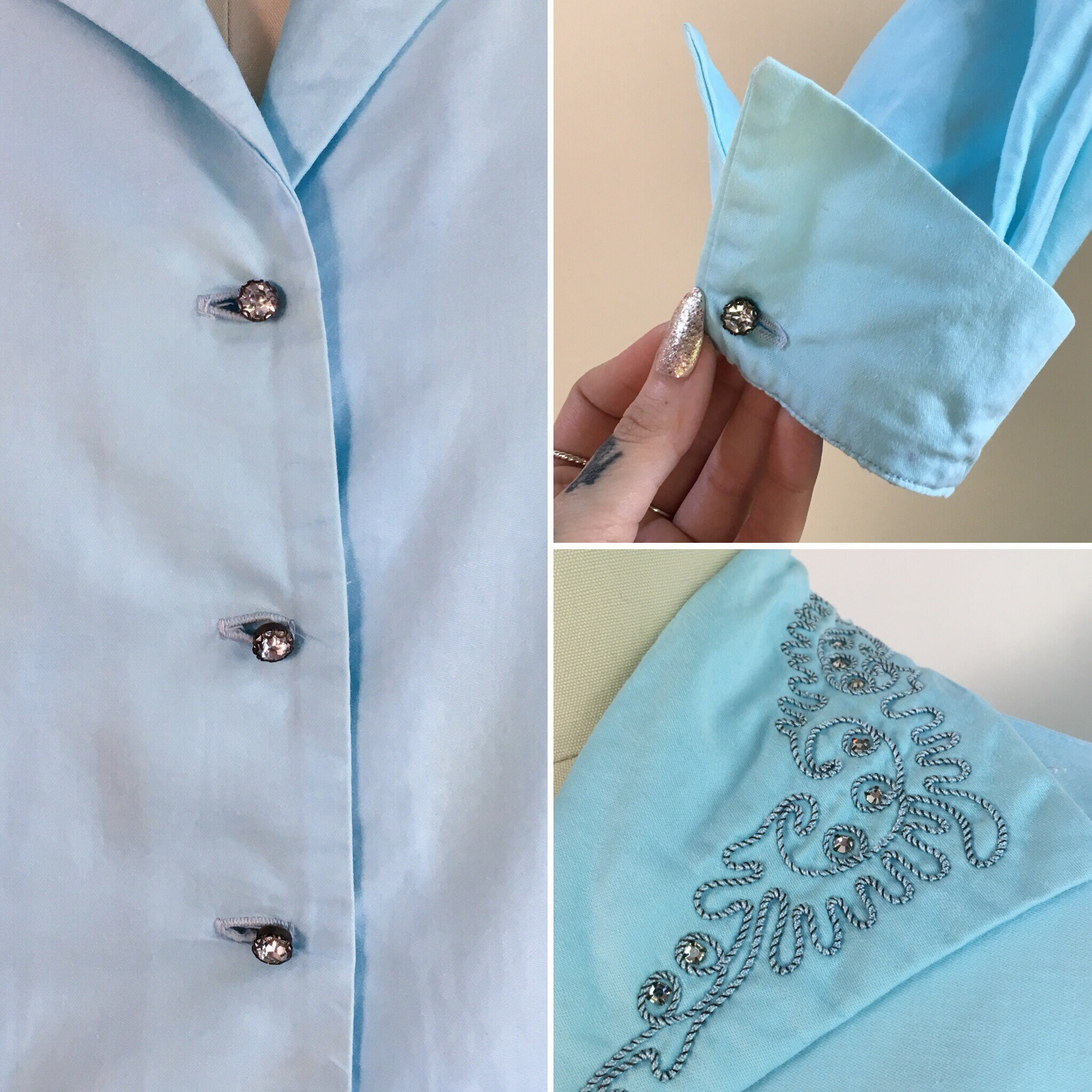 sz M Vintage Women\u2019s 1950s Themed Long Sleeve Button Up Shirt with Rhinestones /&Patches by Get Lucky-Size Medium
