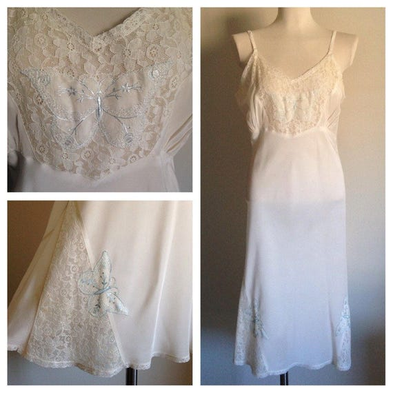 Vintage 1940s 40s 40's white nylon lingerie slip floral lace panels large butterfly embroidery size L large 40 bust AS IS