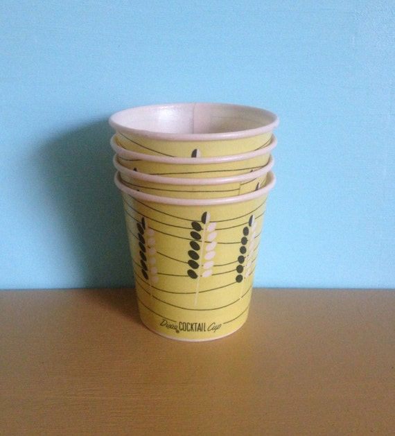 Vintage 1950s small yellow atomic age Dixie Cocktail office paper party drinking cups - leaf wheat pattern - set 4 pieces - movie props