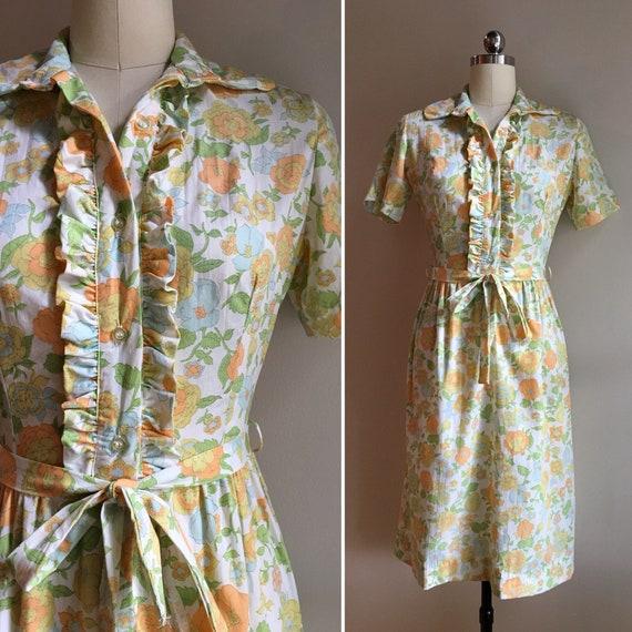 Vintage 1960s - women's fall short sleeve cotton shirt dress with belt - blue green orange floral print - XS Extra Small - 36 bust 25 waist