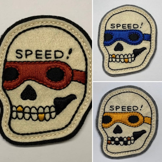 Motorcycle 'SPEED!' skull patch
