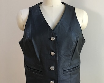 Vintage 1990s 90s 90's women's Contempo Casuals black genuine leather fitted punk rocker biker vest pockets M medium 36 bust 32 waist