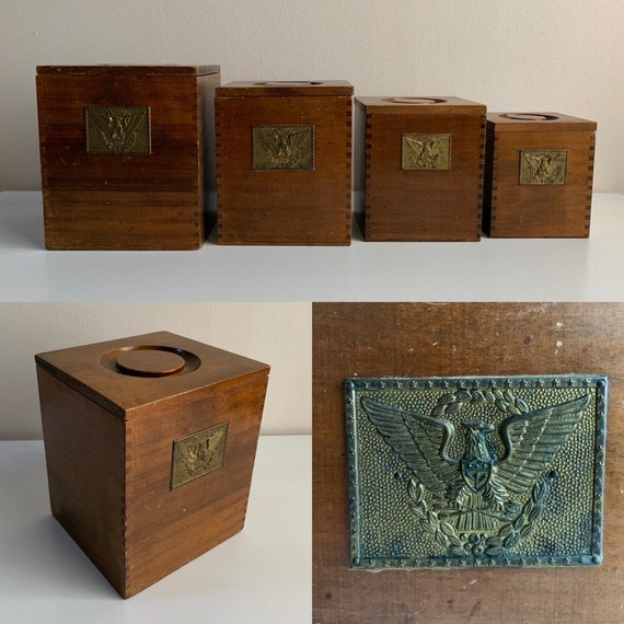 1960s / 1970s - set of 4 square brown wooden kitchen canisters with lids - metal American bald eagle detail