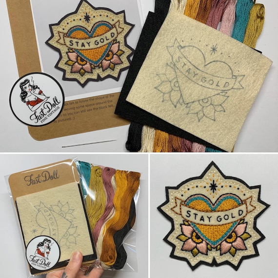 Fast Doll DIY hand-stitch felt patch kits - 'Mama Tried', spiderweb, bolt, cherries, skull, 'Stay Gold' heart, crescent moon or 'Mama TIRED'