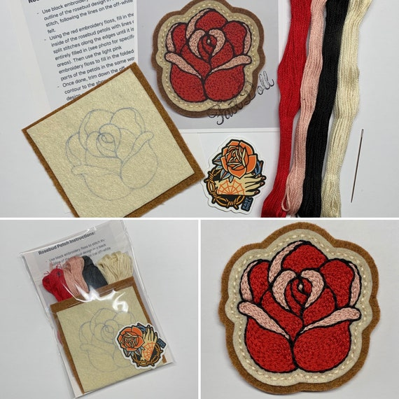 Fast Doll DIY hand-stitch tattoo felt patch kits - 'Mama Tried', spiderweb, bolt, cherries, rosebud, skull, 'Stay Gold' heart, crescent moon