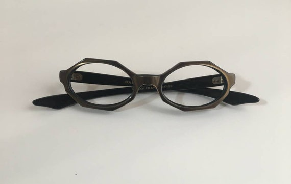 Vintage 1950s - women's pinup rockabilly black & brown octagonal frames glasses - no lenses - eyewear accessories