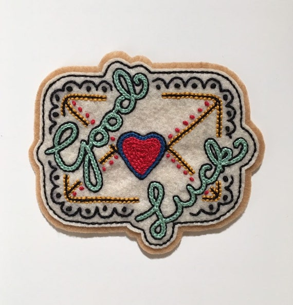 Handmade / hand embroidered white & tan felt patch - 'Good Luck' - cursive lettering - love letter - vintage style - traditional tattoo