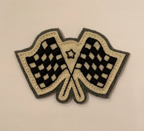 Handmade / hand embroidered off white & gray felt patch - checkered racing flags - vintage style - traditional tattoo flash