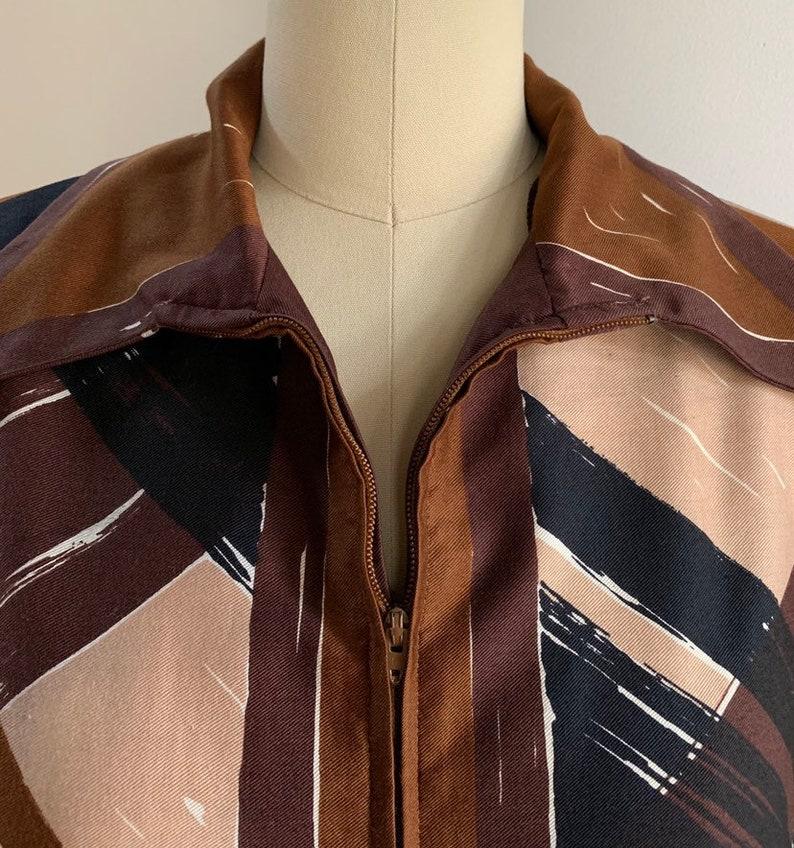 Vintage 1960s 60s 1970s 70s women/'s brown beige black plaid striped long sleeve Vera zip up tunic top shirt blouse L Large 40 bust 40 waist