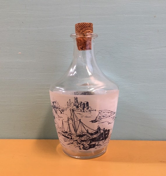 Vintage 1950s / 1960s - French glass bottle decanter / jug - river outdoor scene w/ ship carriage bridge - home decor barware drinkware