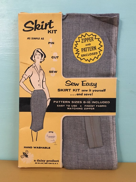 1950s - new old stock 'Sew Easy' DIY gray pin up pencil skirt sewing kit