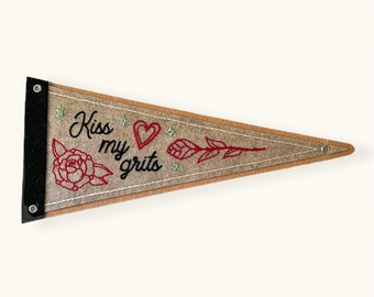 Handmade / hand embroidered tan & gray felt pennant - 'Kiss My Grits' with roses and heart - vintage style - tattoo flash
