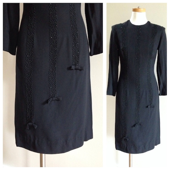 Vintage 1960s - black crepe acetate long sleeve sheath fitted wiggle dress - soutache & bows detail - M medium - 34 bust 28 waist