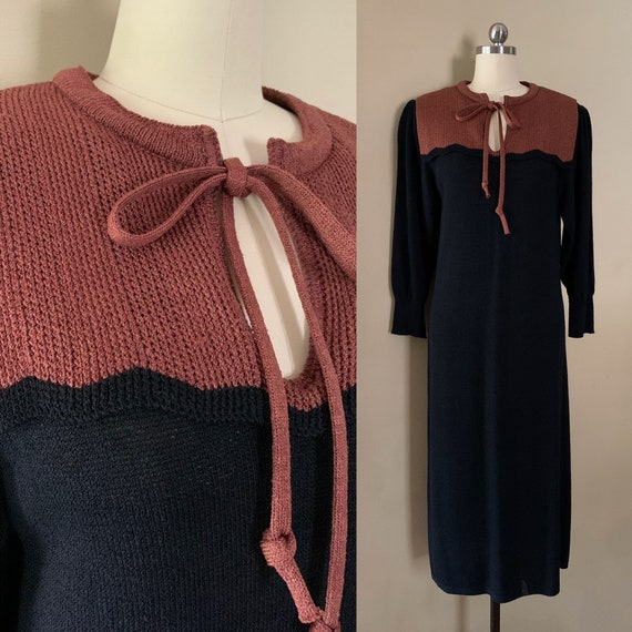 1970s does 1930s - mauve & black Oscar De La Renta long sleeve knit dress - M/L - 36 bust 32 waist
