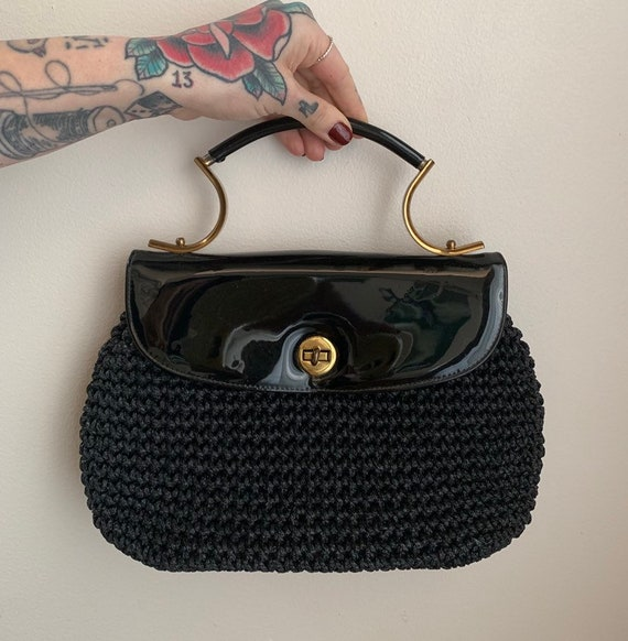1960s - black patent leather & raffia handbag / purse - unique gold metal top handle fall - accessories