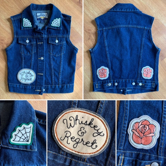 2000s - women's Asphalt Jeans dark wash denim vest with custom handmade felt patches - spiderwebs, roses, custom lettering