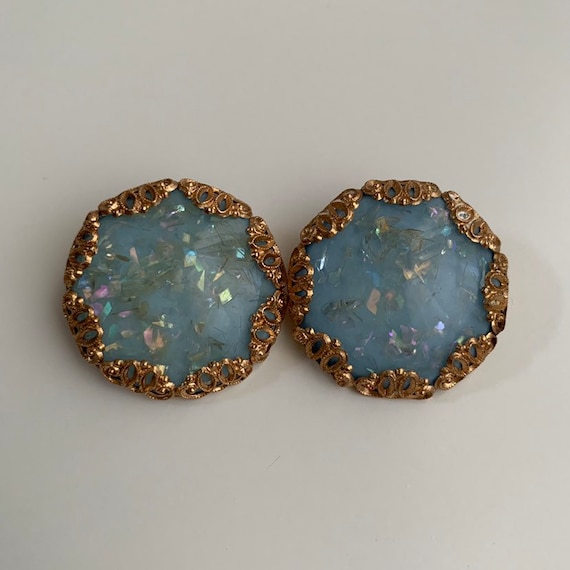 1950s - large round circle light blue glitter clip on earrings - gold metal setting