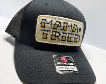 'Mama Tried' black trucker / baseball snap back hat with hand-stitched tattoo patch