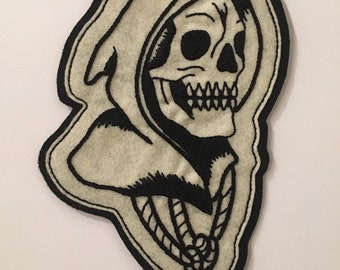 Large hooded reaper head patch