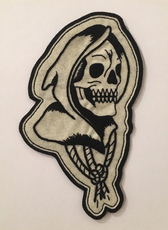 Handmade / hand embroidered off white & black felt patch - large motorcycle grim reaper head - vintage style - traditional tattoo flash