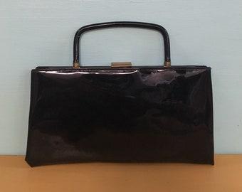 Vintage 1950s - pin up girl glam rectangular black patent leather clutch purse handbag - convertible top handle - gold metal clasp