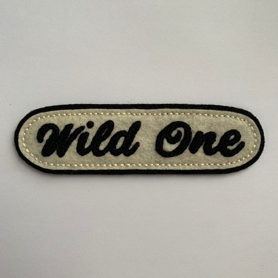Handmade / hand embroidered black & off white felt patch - 'Wild One' - vintage motorcycle style - cursive lettering
